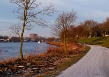 Blick von den Weserterassen entlang der Weser Richtung Innenstadt
