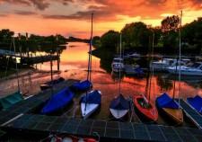 Sonnenuntergang am Weserbogen