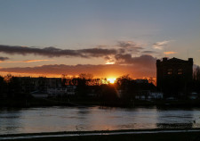 Sonnenuntergang mit Blick über die Weser