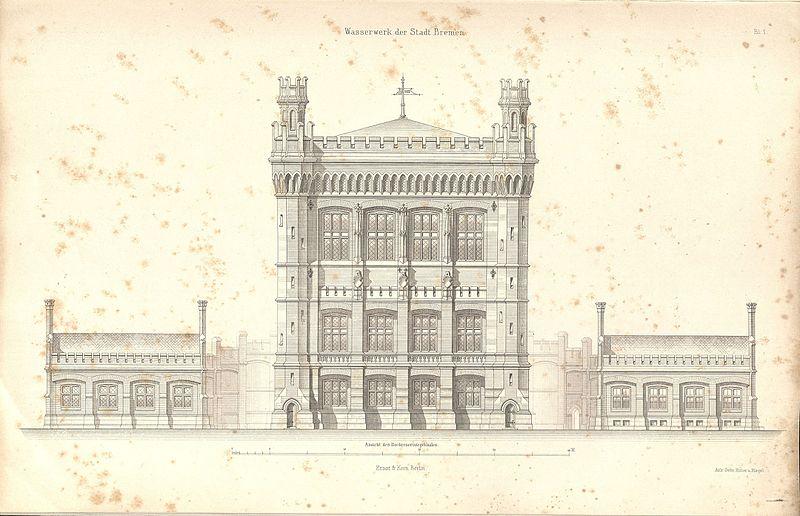 Plan Wasserturm Ansicht von 1876