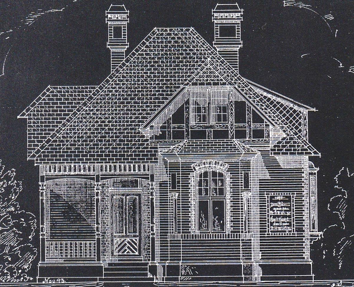 Wätjenhaus, Entwurfszeichnung von Albert D. Dunkel, 1893